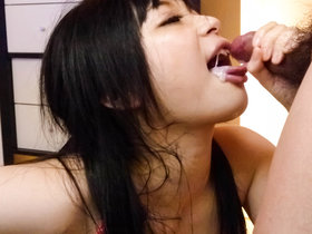 Hina Maeda has her face fucked and chokes on that big dick as it rams her throat before being filled with jizz